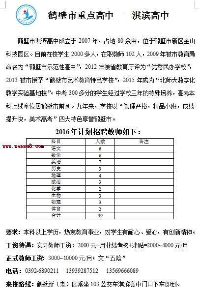 ▲河南鹤壁市河南大学2016档案招聘启示-淇滨教师的需要高中高中吗图片